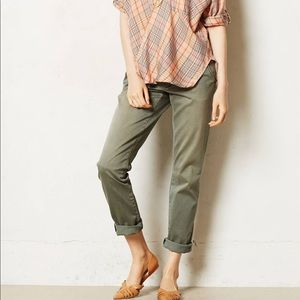 Anthropologie Pilcro olive green chino pants